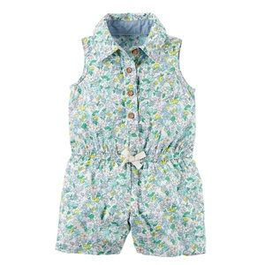 6M Sleeveless Floral Baby Romper
